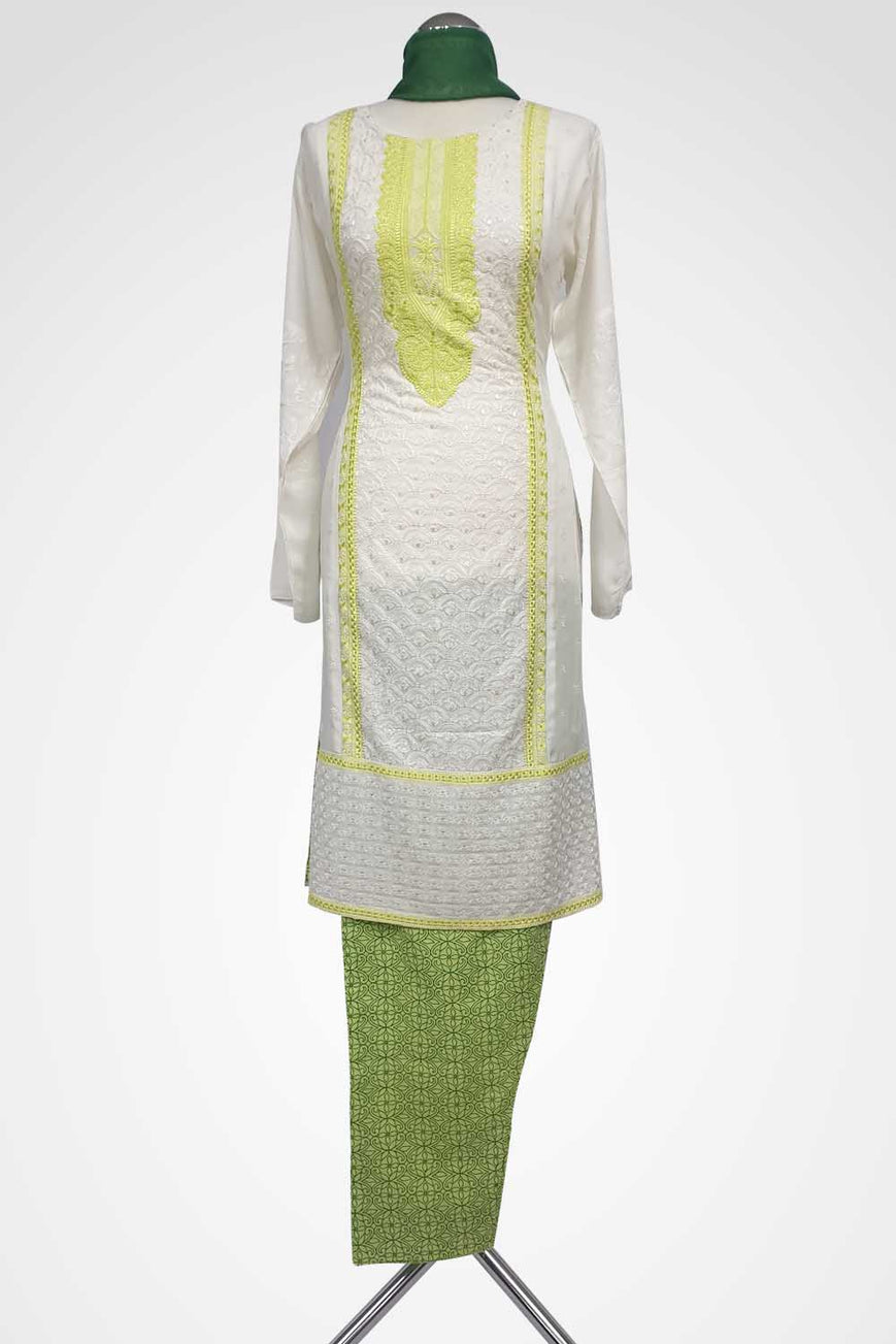 (LM 21 ) Embroidered cotton White & Green Ready to Wear 3Pcs Suit with Chiffon Dupatta