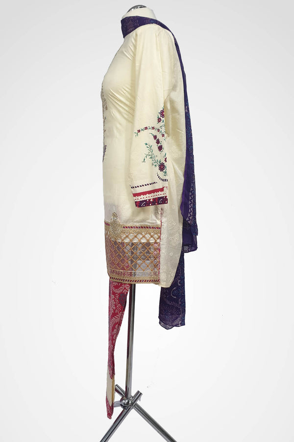 (LM 31) Embroidered & Printed Lawn Cream Ready to Wear 3Pcs Suit with Chiffon Dupatta Printed