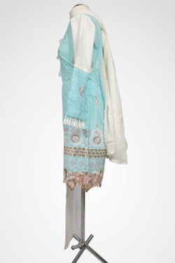 (LM 23) Embroidered cotton Blue Ready to Wear 3Pcs Suit with Chiffon Dupatta