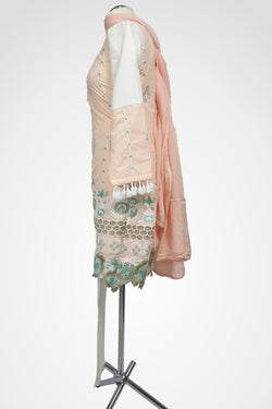 (LM 26) Embroidered cotton Pink Ready to Wear 3Pcs Suit with Chiffon Dupatta