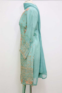 KC 01 Green Embroidered Ready to Wear Chiffon 3Pcs Suit