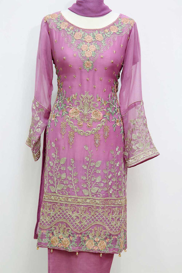KC 03 Tea Pink Embroidered Ready to Wear Chiffon 3Pcs Suit
