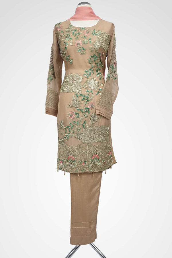 KC 103 Beige Embroidered Ready to Wear Chiffon 3Pcs Suit