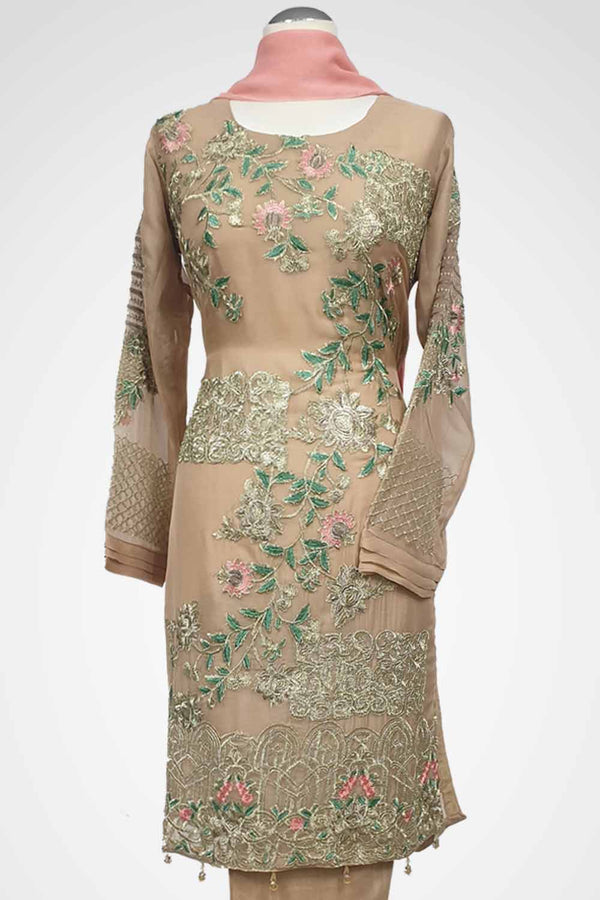 KC 103 Beige Embroidered Suit