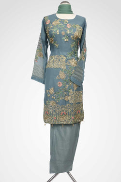 KC 104 Grey Embroidered Ready to Wear Chiffon 3Pcs Suit
