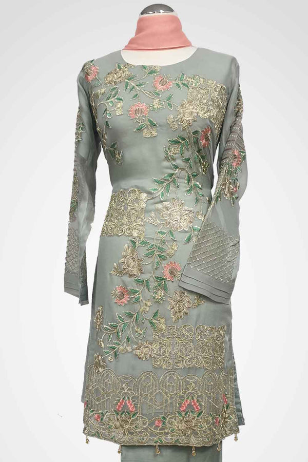 KC 106 Dusty Green  Embroidered Ready to Wear Chiffon 3Pcs Suit
