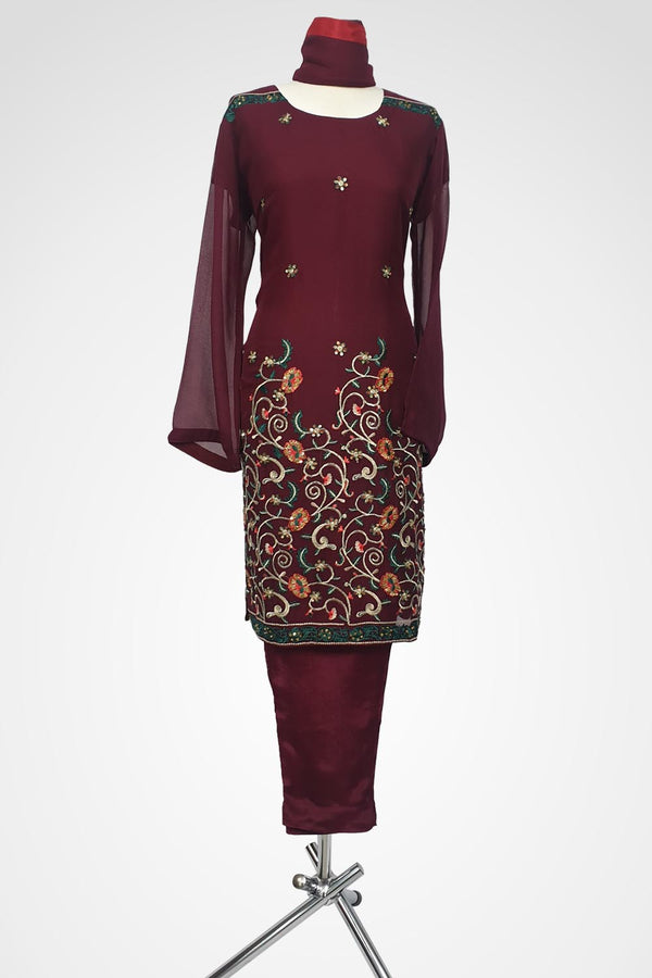KC 107 Maroon Embroidered Ready to Wear Chiffon 3Pcs Suit