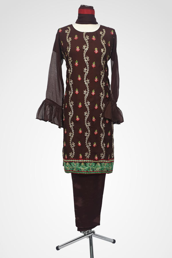 KC 108 Brown Embroidered Ready to Wear Chiffon 3Pcs Suit