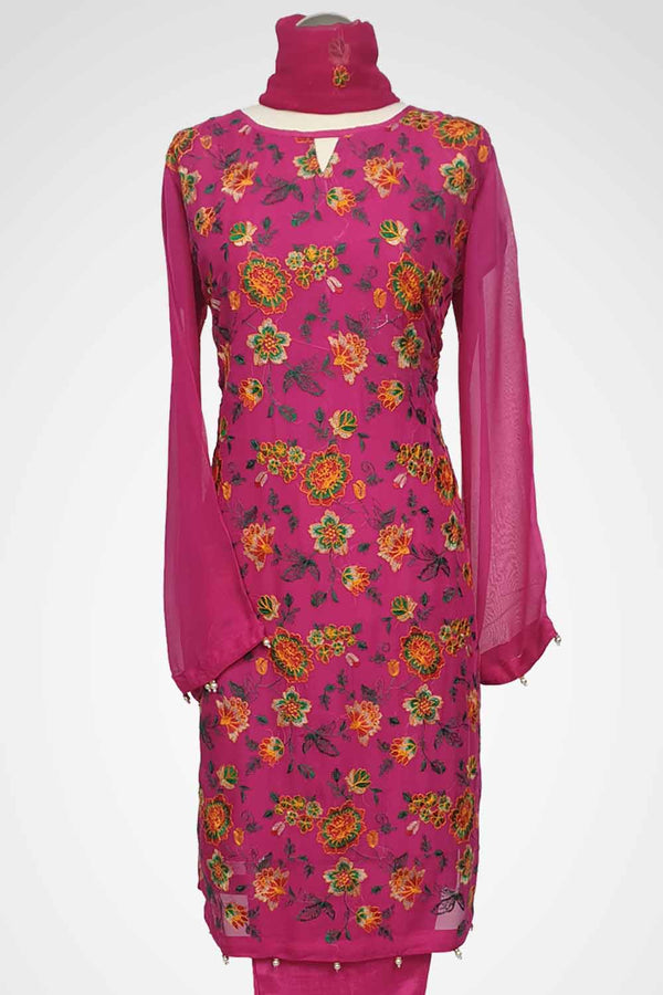 KC 109 Fuchsia Embroidered Ready to Wear Chiffon 3Pcs Suit