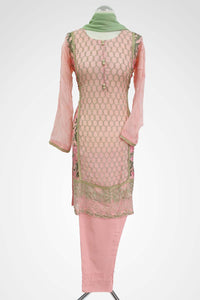 KC 134 Pink Colour Embroidered Ready to Wear Chiffon 3Pcs Suit