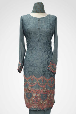 KC 115 Grey Colour Embroidered Ready to Wear Chiffon 3Pcs Suit