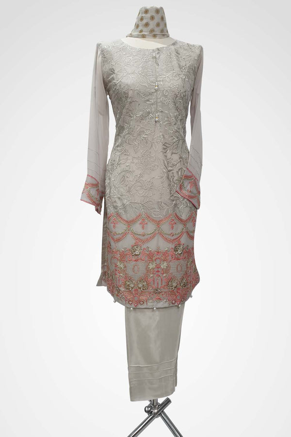 KC 117 Light Grey Colour Embroidered Ready to Wear Chiffon 3Pcs Suit