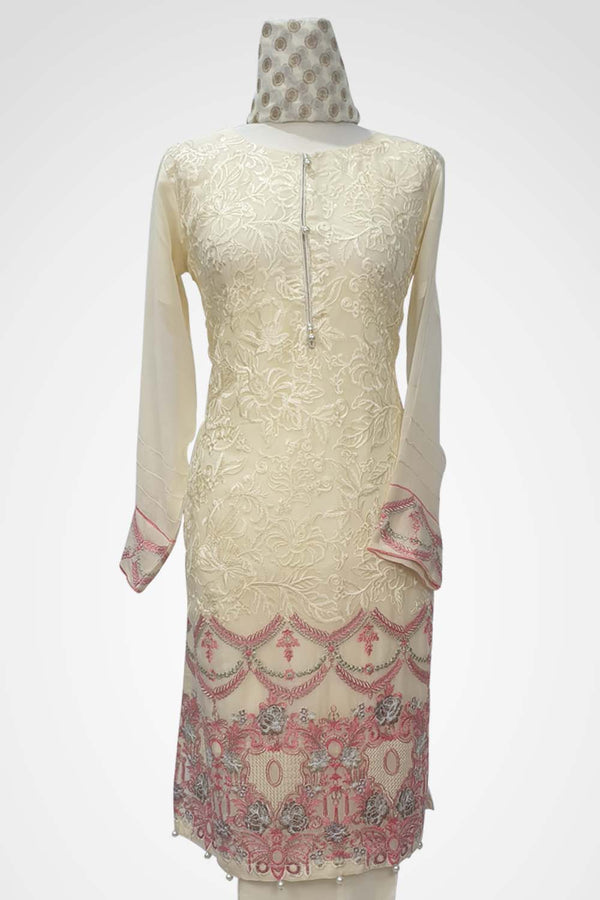 KC 118 Cream Colour Embroidered Ready to Wear Chiffon 3Pcs Suit