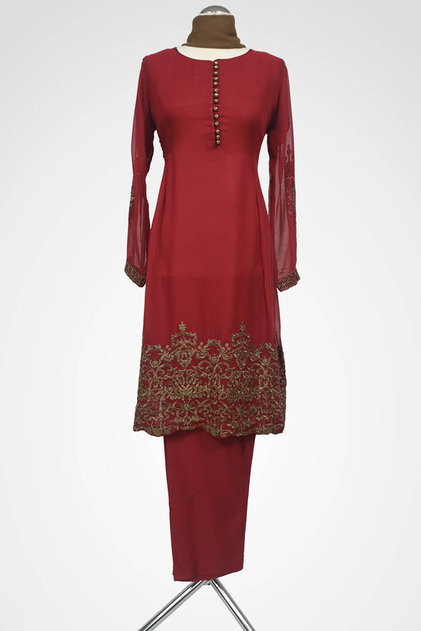 KC 123 Red Colour Frock Style Embroidered Ready to Wear Chiffon 3Pcs Suit