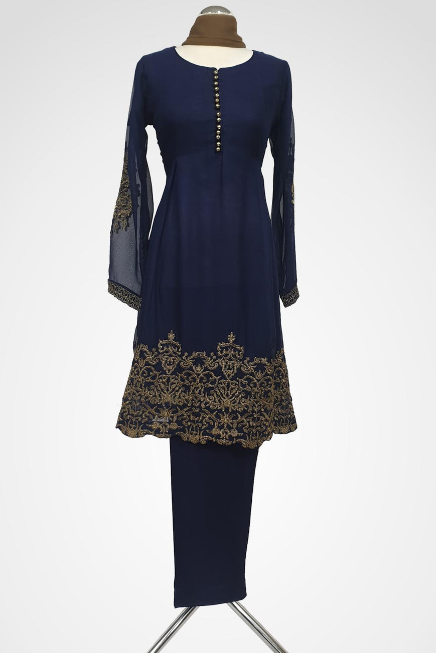 KC 124 Blue Colour Frock Style Embroidered Ready to Wear Chiffon 3Pcs Suit