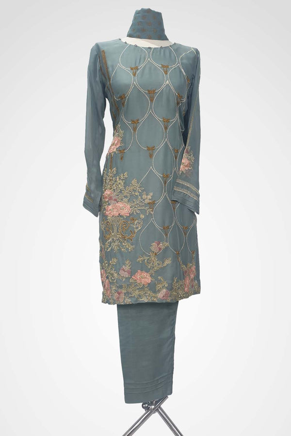 KC 125 Grey Colour Chiffon Embroidered Ready to Wear  3Pcs Suit