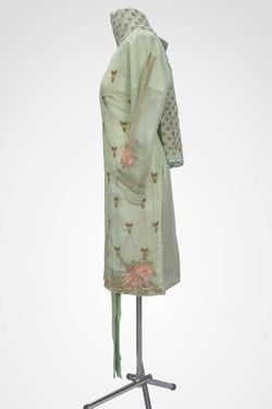 KC 126 Light Green Colour Chiffon Embroidered Ready to Wear  3Pcs Suit