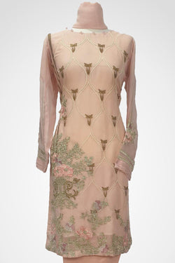 KC 127 Pink Colour Chiffon Embroidered Ready to Wear  3Pcs Suit