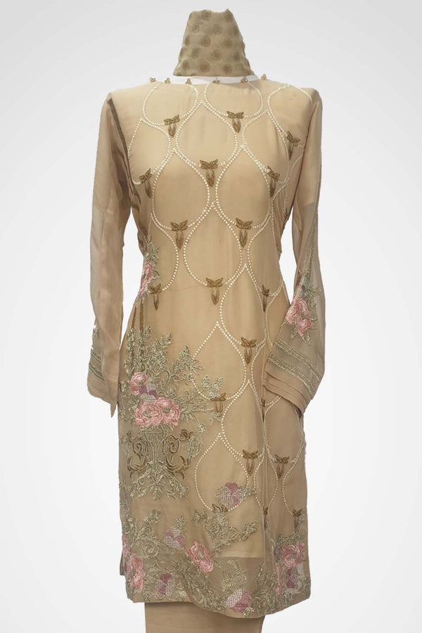 KC 128 Beige Colour Chiffon Embroidered Ready to Wear  3Pcs Suit