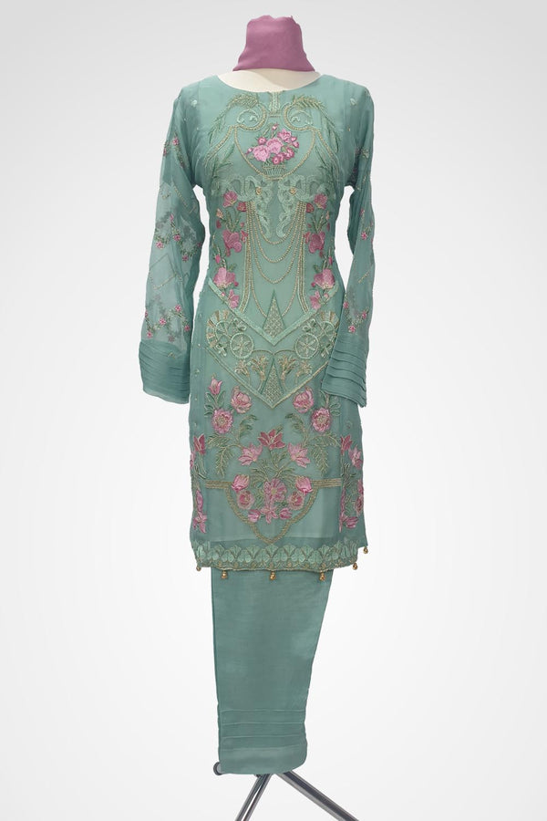 KC 129 Light Blue Colour Chiffon Embroidered Ready to Wear  3Pcs Suit