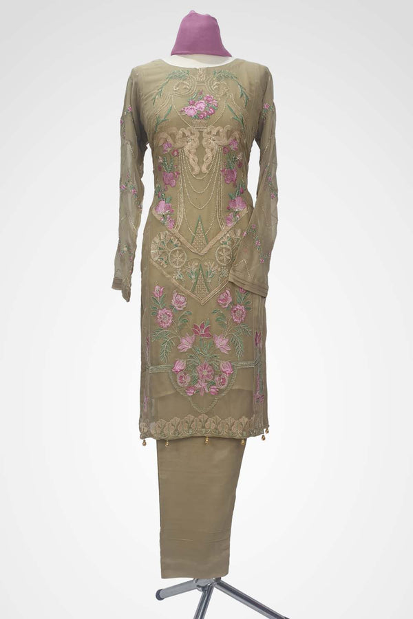 KC 130 Beige Colour Chiffon Embroidered Ready to Wear  3Pcs Suit