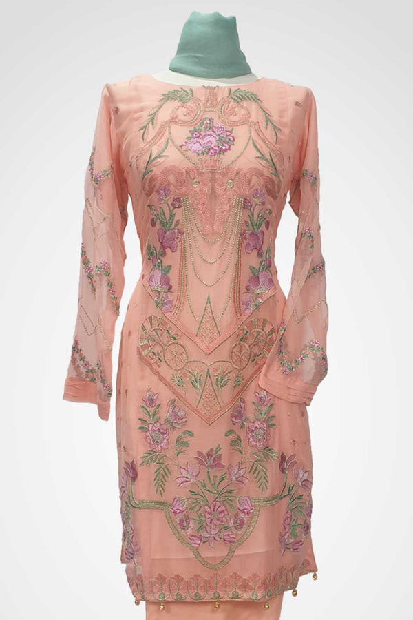 KC 131 Pink Colour Chiffon Embroidered Ready to Wear  3Pcs Suit