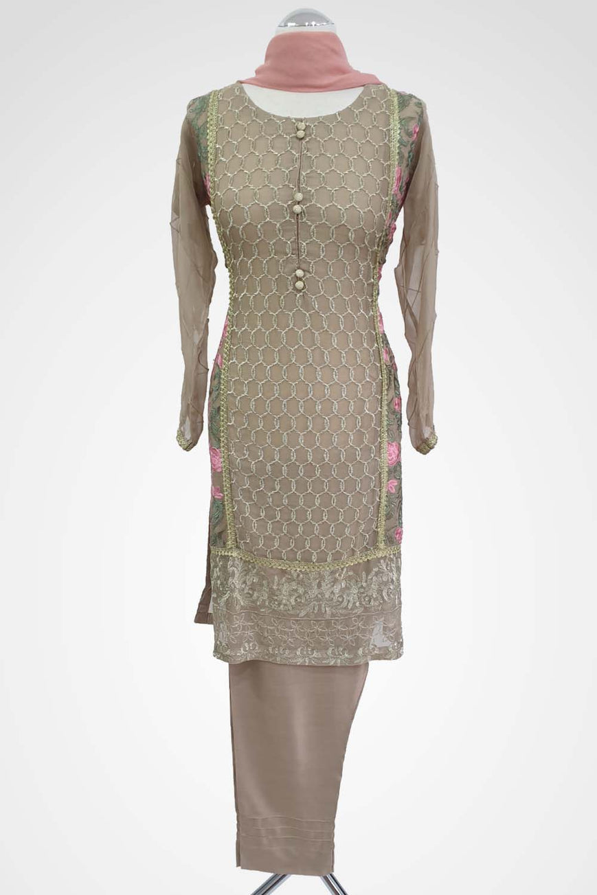 KC 135 Beige Colour Embroidered Ready to Wear Chiffon 3Pcs Suit
