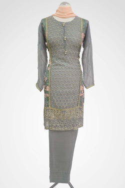 KC 137 Grey Colour Embroidered Ready to Wear Chiffon 3Pcs Suit