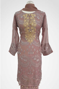 KC 140 Tea Pink  Colour Embroidered Ready to Wear Chiffon 3Pcs Suit