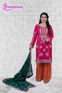 KC 146 Cerise Pink Colour Embroidered Ready to Wear Chiffon 3Pcs Sharara Suit