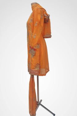 KC 147 Orange Colour Embroidered Ready to Wear Chiffon 3Pcs Sharara Suit