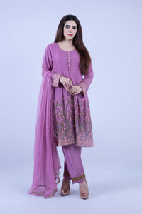KC 150 Lilac Colour Embroidered Ready to Wear Chiffon 3Pcs Frock Style Suit