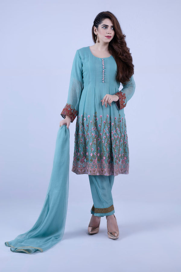 KC 151 Light Green Colour Embroidered Ready to Wear Chiffon 3Pcs Frock Style Suit