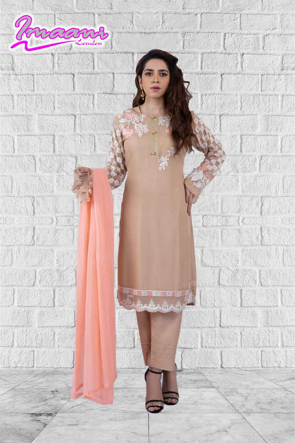 KC 152 Beige Colour Embroidered Ready to Wear Chiffon 3Pcs Suit