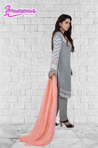 KC 153 Light Grey Colour Embroidered Ready to Wear Chiffon 3Pcs Suit