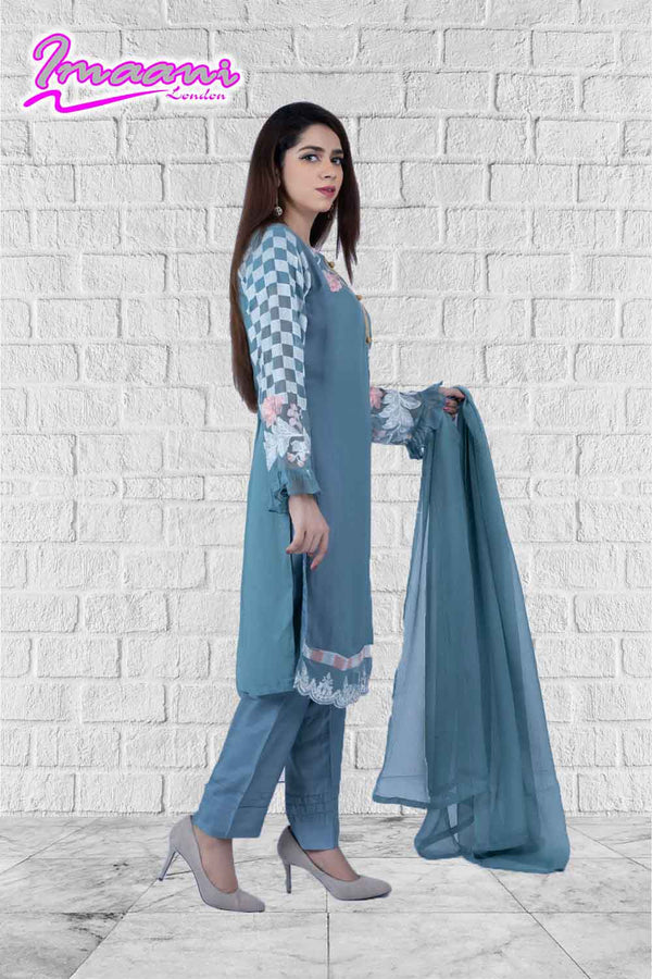 KC 154 Grey Colour Embroidered Ready to Wear Chiffon 3Pcs Suit