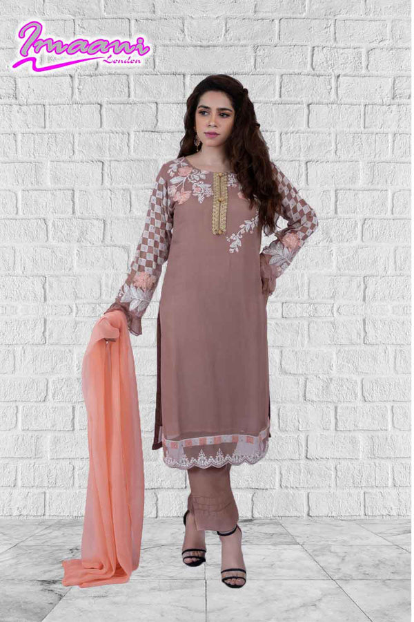 KC 155 Tea Pink Colour Embroidered Ready to Wear Chiffon 3Pcs Suit