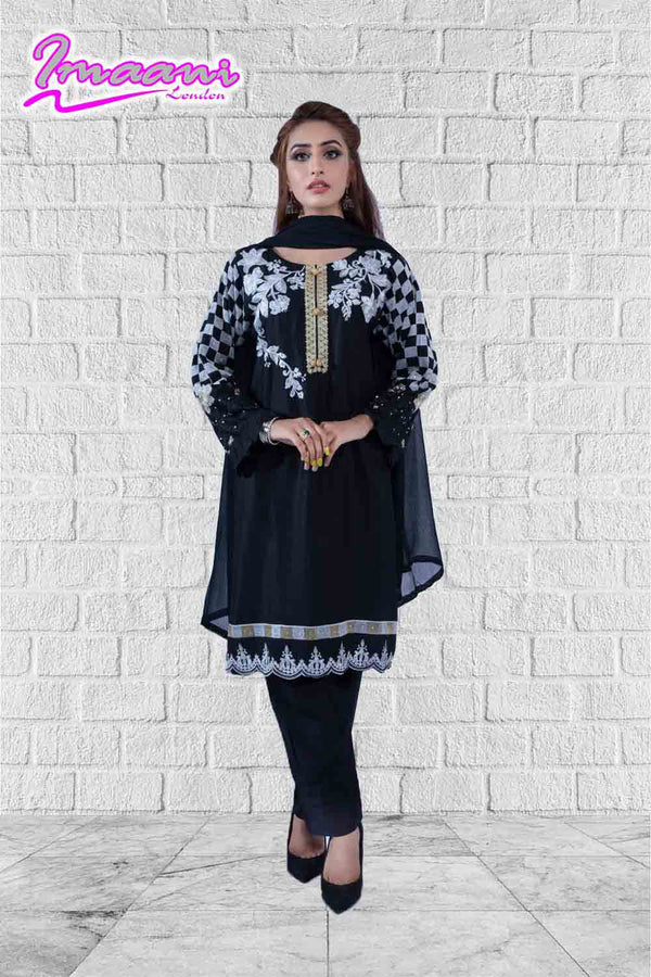 KC 156 Black Colour Embroidered Ready to Wear Chiffon 3Pcs Suit