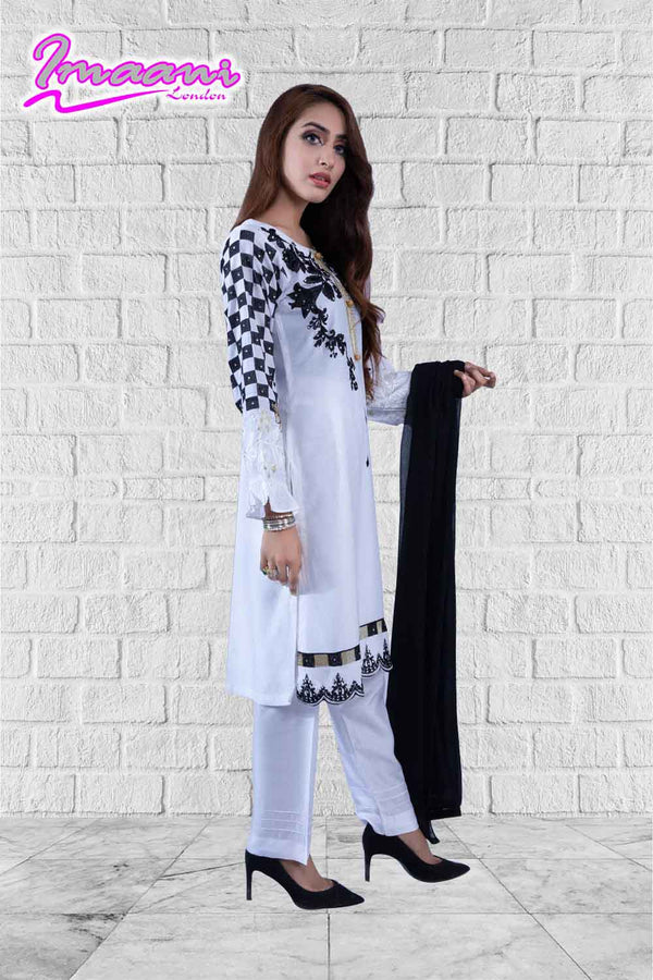 KC 157 White  Colour Embroidered Ready to Wear Chiffon 3Pcs Suit