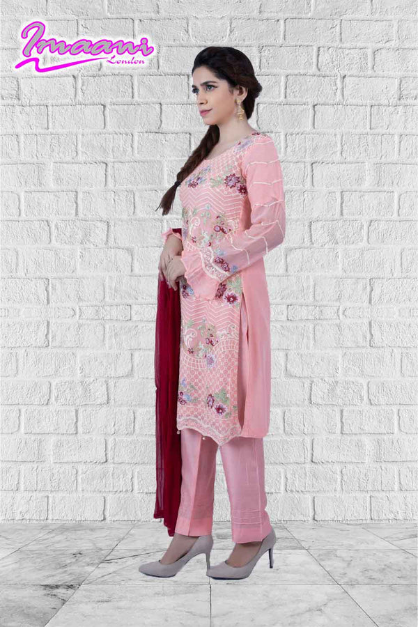 KC 159 Pink  Colour Embroidered Ready to Wear Chiffon 3Pcs Suit