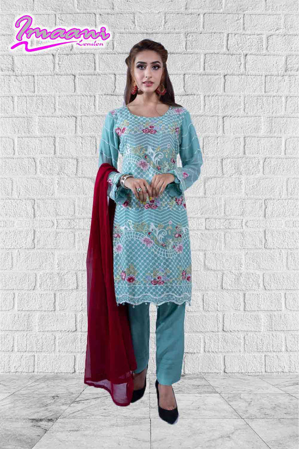 KC 160 Dusty Green Colour Embroidered Ready to Wear Chiffon 3Pcs Suit