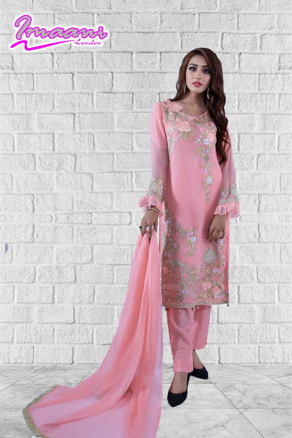 KC 161 Pink  Colour Embroidered Ready to Wear Chiffon 3Pcs Suit