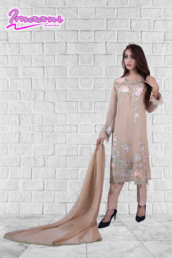 KC 162 Beige Colour Embroidered Ready to Wear Chiffon 3Pcs Suit