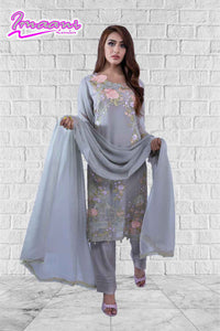 KC 163 Light Grey  Colour Embroidered Ready to Wear Chiffon 3Pcs Suit
