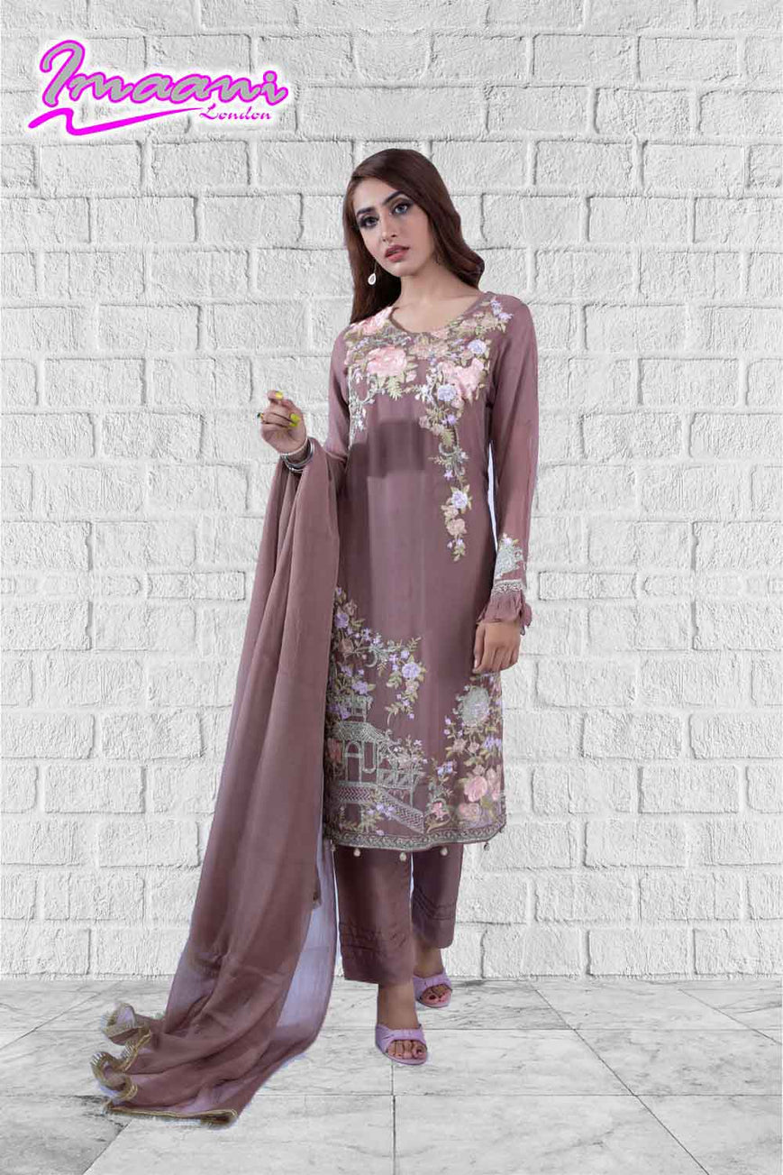 KC164 Tea Pink  Colour Embroidered Ready to Wear Chiffon 3Pcs Suit