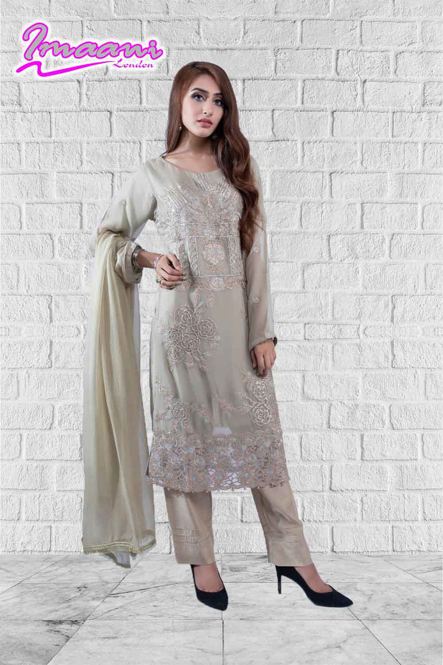 KC166 Dusty Green Colour Embroidered Ready to Wear Chiffon 3Pcs Suit