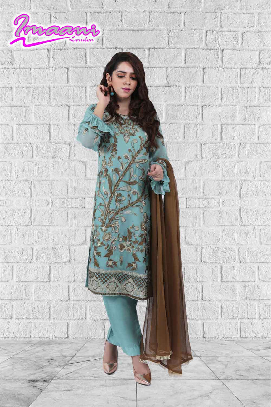 KC 167 Green Colour Embroidered Ready to Wear Chiffon 3Pcs Suit
