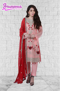 KC171 Pink Colour Embroidered Ready to Wear Chiffon 3Pcs Suit