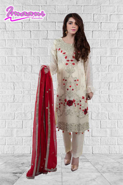 KC172 Cream Colour Embroidered Ready to Wear Chiffon 3Pcs Suit