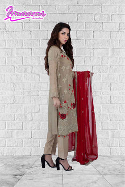 KC173 Beige Colour Embroidered Ready to Wear Chiffon 3Pcs Suit